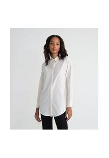 Camisa Alongada Em Tricoline Listrada   Cortelle   Branco   Pp