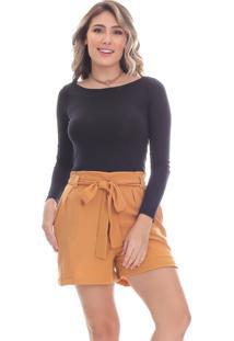 Short Clara Arruda Crepe Cintura Laço 30053 Amarelo