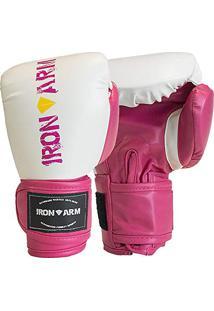 23e07a55c1193 Luva Boxe Muay Thai Training 12 Oz Branco E Rosa Iron Arm