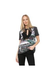 Camiseta My Favorite Thing(S) Choker + Top Cinza