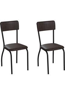 Conjunto Com 2 Cadeiras Nowra Tabaco E Preto