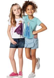 Blusa Frozen® Com Glitter Menina Malwee Kids