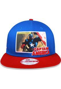 Boné New Era 950 Capitão America Aba Reta Azul a6ee72ec651