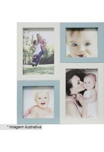 Painel Para 4 Fotos- Branco & Azul- 29X24X6Cm- Kkapos