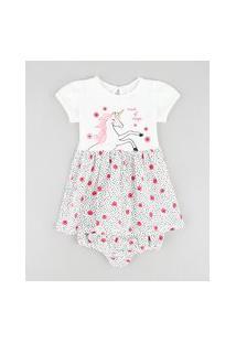 Vestido Infantil Unicórnio Estampado Floral Manga Curta + Calcinha Off White