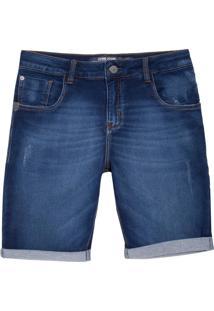 Bermuda John John Classica Obera Moletom Jeans Azul Masculina (Jeans Medio, 36)