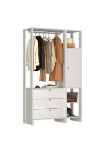 Estante Closet Nova Mobile Ey102 Yes Com 1 Porta E 3 Gavetas