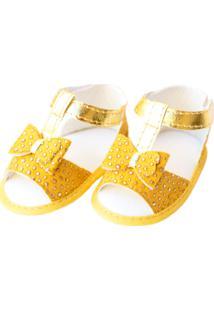 Sandália Spike Sapatinhos Baby Amarela E Dourada