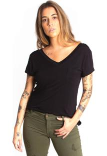 Camiseta Le Julie Decote V Preta
