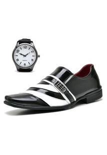Sapato Social Com Verniz Com Relógio New Dubuy 632Mr Preto