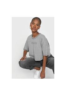 Camiseta Cropped Colcci Aplicações Cinza