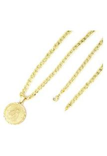Colar Santo Antonio E Conjunto 5Mm Tudo Jóias Folheado A Ouro 18K Dourada