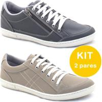 3ea3d6788 Kit Sapatenis Dexshoes Com Ziper - Masculino-Preto+Bege