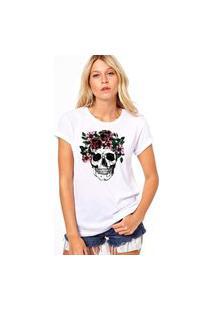 Camiseta Coolest Skull Flowers Branco