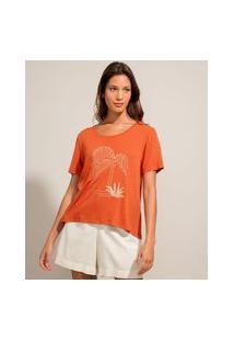 Camiseta Com Bordado Manga Curta Decote Redondo Marrom