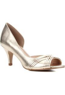 Peep Toe Couro Shoestock Metalizado Salto Médio Tiras - Feminino-Dourado