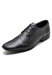 Sapato Social Fepo Store Couro Com Textura Bico Quadrado Preto