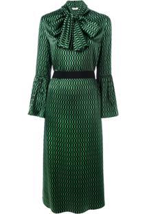 Fendi Vestido Midi Com Amarração - Green