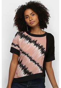 Camiseta Acostamento Assimétrica Estampada Feminina - Feminino-Rosa Claro