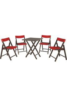 Jogo De Mesa Com Cadeiras Potenza- Tabaco & Vermelhotramontina