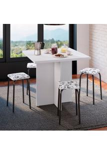 Conjunto De Mesa De Cozinha Com 4 Lugares Verona Iii Corino Branco E Preto