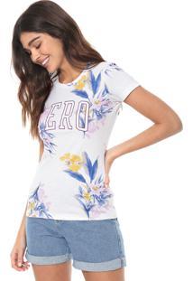 Camiseta Aeropostale Floral Off-White/Azul