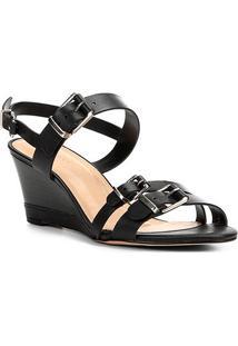 48d86a7935 Sandália Anabela Couro Shoestock Fivelas Feminina - Feminino