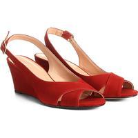 e6722cf9ac Sandália Anabela Couro Shoestock Nobuck Feminina - Feminino-Laranja Escuro