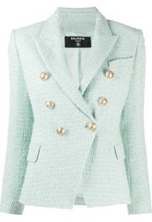Balmain Double-Breasted Tweed Jacket - Verde