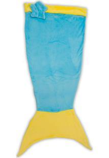 Manta Infantil Sereia- Azul Amarela- 60X140Cm-Buettner