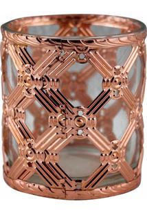 Castiçal De Metal Bronze E Vidro 7,5X7,5X8 Cm