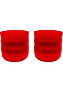 Conjunto 6 Cremeiras Cozy 300 Ml Vermelho Transparente Coza