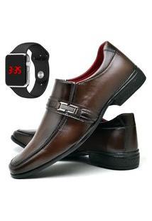 Sapato Social Fashion Com Relógio Led Silver Dubuy 827El Marrom