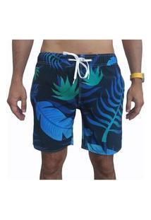 Bermuda Short Tactel E Elastano Opice Moda Praia Estampado Preto