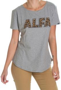 Camiseta Alfa Candy Onça Cinza Mescla