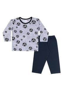 Conjunto Pijama Menino Em M/Malha Camiseta Rotativa Futebol Cinza E Calça Preta - Liga Nessa