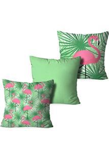 Kit 3 Capas Para Almofadas Decorativas Flamingo Green - Unissex