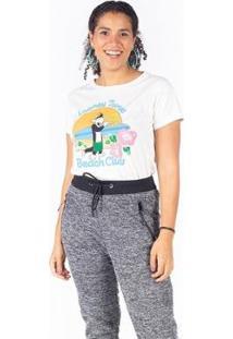 Camiseta Manga Curta Frajola Piu Piu Besni Feminina - Feminino-Off White