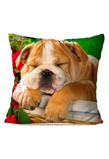 Capa De Almofada Avulsa Decorativa Bulldog Sleeper 35X35Cm