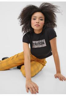 Camiseta Triton Logo Preta - Preto - Feminino - Algodã£O - Dafiti
