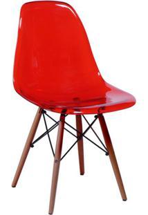 Cadeira Eames Base Madeira Escura E Vermelha