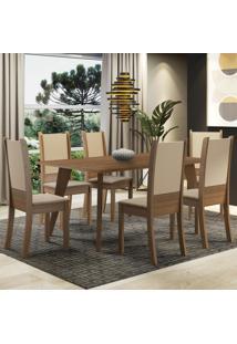 Conjunto Sala De Jantar Madesa Damaris Mesa Tampo De Madeira Com 6 Cadeiras - Rustic/Crema/Bege Marrom - Marrom - Dafiti