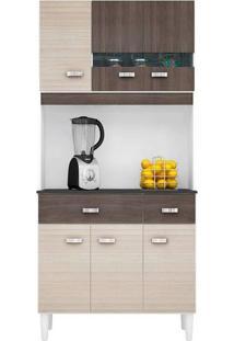 Armário P/ Cozinha 6 Portas 2 Gavetas - Poquema Kit Manu 6P - Amêndoa/Capuccino