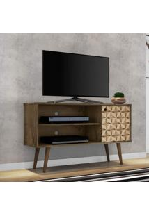 Rack Para Tv Até 42 Polegadas 1 Porta Retrô Jade Móveis Bechara Madeira Rústica/3D
