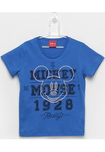 Camiseta Infantil Kamylus Meia Malha Mickey Mouse - Masculino-Azul