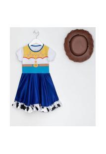Vestido Infantil Estampa Jessie Fantasia - Tam 1 A 6 Anos | Disney | Branco | 02