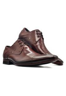 Sapato Social Derby Masculino Bico Fino Sola Couro Mod 377 Marrom