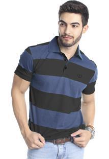 Camisa Polo Tony Menswear De Malha Listrada Preta Azul 1a6db169f477c