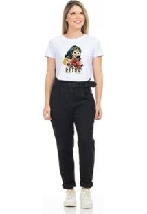 Camiseta Cropped Clara Arruda Viés Estampada 18020020 Feminina - Feminino-Branco