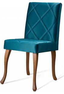 Cadeira Copas Matelasse Azul Base Castanho - 50551 - Sun House
